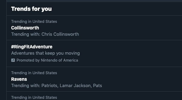 Trends Section on Twitter